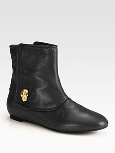 Alexander McQueen - Leather Skull Ankle Boots