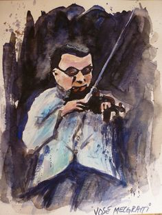 Watercolor Original Painting Signed    by The argentinian artist José Melgratti Violinist of Tango Orchestra    $100.00