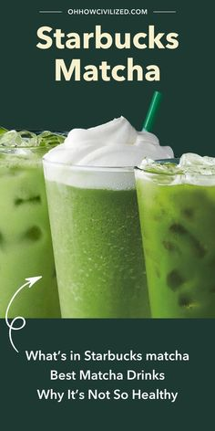 In this article we dissect everything Matcha in Starbucks. What it is, where it comes from, and why it may not be so healthy for you! Click to explore. Starbucks Recipes, Starbucks Drinks, Hot Tea Recipes, Drink Recipes, Best Matcha, Matcha Green Tea Latte, Matcha Drink, Caffeine Free Tea, Drinking Tea