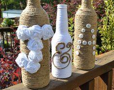 Custom twine wrapped wine bottles / Rustic wedding decor / Upcycled