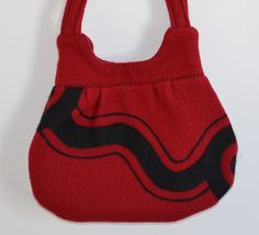 Felted Purse Red & Black