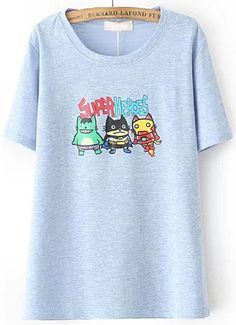 Blue Cartoon SUPER HEROES Print T-Shirt -SheIn(Sheinside)