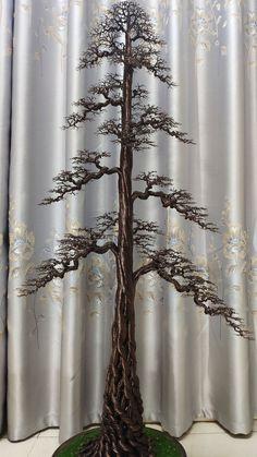 Barbed Wire Art, Copper Wire Art, Diy Necklace Patterns, Tree Branch Decor, Wire Tree Sculpture, Bonsai Art, Wire Trees, Metal Tree, Handmade Wire