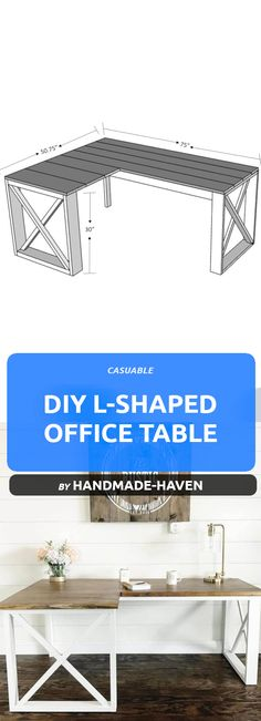 20 DIY Easy Office Desks To Transfer Your Home To Workplace - Tutorials Find out what kind of wooden DIY office tables you can make to transfer your home into a workspace. DIY office desks that we hav Diy Office Desk, Home Office Furniture Desk, Office Table, Diy Desk, Diy Furniture, Furniture Buyers, Furniture Websites, Steel Furniture, Small Office