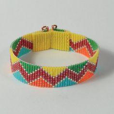 Items similar to Incan Indian ZigZag Bead Loom Bracelet, Colorful Beaded Jewelry, Native American Style, Boho Hippie Chic Beadweaving on Etsy Loom Bracelet Patterns, Bead Loom Bracelets, Bead Loom Patterns, Woven Bracelets, Beading Patterns, Loom Bands, Loom Craft, Inka, Native Beadwork