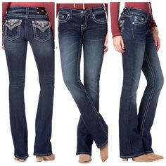 Magnificent Miss Me Women's Paisley The back flap pockets feature paisley embroidery with sequins and clear crystals for stand out shine to match your personality. They're the perfect blend of comfortable and sexy with a subtle elastane stretch that will hold their great shape all day long without getting baggy. With a boot cut leg opening, you can wear these sassy jeans with your favorite boots. In these jeans, the boys will hate to see you go, but love to watch you leave. Miss Me Jeans…