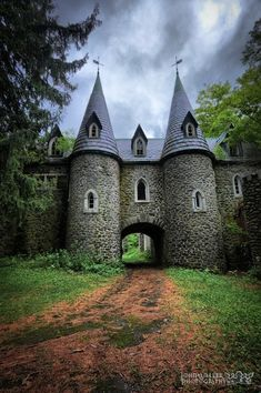 Ravenloft Castle, New York State. Sitting high on a dark hillside outside of a small town in Upstate New York, The Ravenloft Castle complete with Gothic windows, turrets, towers, steep parapeted roofs, crumbling walls, and a courtyard overgrown with shrubs and trees .The castle had 36 rooms . http://tomislavperko.com/