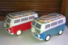 There are so many ways you can design this simply fabulous German Bus from SURF SHACK SVG KIT.  Look at the top of these two vans Beth created!  How awesome is that!  Looks like a bag of Skittles exploded on top!  Super cute in these colors, Beth!