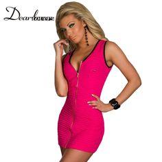 Aliexpress.com  Comprar Dear lover rosa rojizo cuello alto hollow out mini  dress primavera de manga larga noche vestidos del club aclaramiento  vestidos ... 84f6068f6136