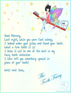 Letter From The Tooth Fairy  Tooth Fairy Teeth And Fairy