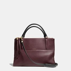 GORGEOUS new Coach Oxblood Borough Pebble Leather/Fabric Lining Inside Zip Shoulder/Handbag