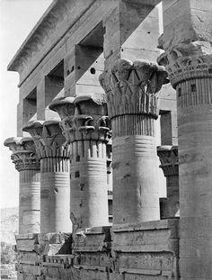 1850-1880 - Columns of Kiosk of the Emperor Trajan (Pharaoh's Bed), Philae, Egypt. Frith no. 1827.