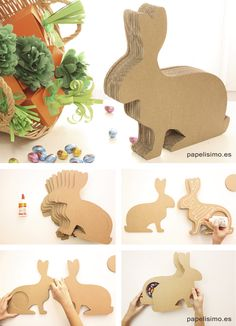 Conejo caja de carton Pascua DIY Easter cardboard rabbit Cardboard Animals, Cardboard Box Crafts, Cardboard Toys, 3d Paper Crafts, Paper Toys, Diy Paper, Easter Art, Easter Crafts, Diy Wooden Projects