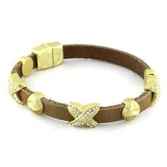 """Leather Magnetic Link Bracelet; 7.5""""L; Brown genuine leather bracelet with magnetic closure; Hammered brushed gold stations; Eileen's Collection. $28.99"""