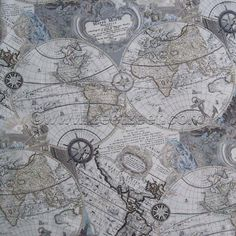 Map fabriccolored travel tourist world city map fabricpatchwork rare out of print world map in grey features a vintage style antique reproduction map of the globe in a very high quality 18 screen print process gumiabroncs Gallery
