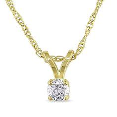 Miadora 14k Gold 1/10ct TDW Diamond Solitaire Necklace
