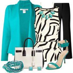 BLACK D&B BAG - Black Pant, Aqua Cardigan, Zebra Blouse, Black Heel Shoes,
