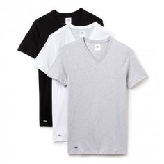 Lacoste Essentials Supima Cotton V-Neck Slim Fit T-Shirt Black/Grey/White, these are available in sizes Small to X-Large Cheap Mens Fashion, Fashion Vest, Lacoste Men, Stylish Men, Types Of Sleeves, Grey And White, V Neck T Shirt, Cotton, Shirts
