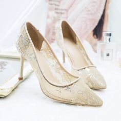 d6473969cb0 Chic   Beautiful Beige Summer Wedding Shoes 2018 Leather Lace 8 cm Stiletto Heels  Pointed Toe Wedding Pumps