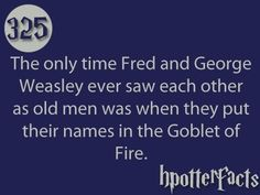 AWW Fred George Weasley Harry Potter Goblet of Fire hpotter facts
