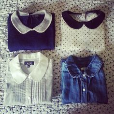 Peter pan collar blouses. Blue with white. White with black polka dot. White blouse. Chambray blouse.