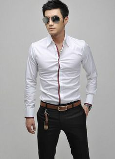 New Men's Slim Fit Shirt Business Casual Blouse Stylish Long Sleeve Shirt Turn-down Collar Men's Dress Shirts