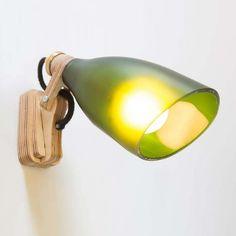 London based studio DeGross, designed an amazing bottle lamp collection called UTREM LUX made out of upcycling old bottles. Glass Bottle Crafts, Wine Bottle Art, Diy Bottle, Deco Luminaire, Bottle Cutting, Cutting Glass Bottles, Wooden Lamp, Old Bottles, Bottle Lights