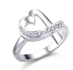 Tiffany & Co anomalous heart inlay Diamond silver Ring Tiffany & Co