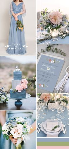 dusty blue and pink boho wedding color ideas and dusty blue bridesmaid dresses
