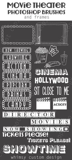 Movie Theater Cinema  Photoshop Brushes Word Art Set / Chalkboard/ Chalk/ Overlays / Clip Art / Digital Stamps / Digital Scrapbooking