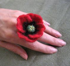 As a brooch for Remembrance Day- Red Poppy ... Felt Flower  Ring. $12.00, via Etsy.