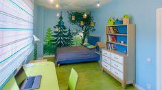Blue kids room, forest theme, by ILLUSTRA design. Forest Room, Forest Theme, Woodland Theme, Boy Bedrooms, Treehouse, New Room, Kids Rooms, Room Interior, Preschool