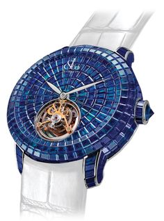 Jacob & Co.'s Caviar Tourbillon Collection Timepiece invisibly set with Blue Sapphires