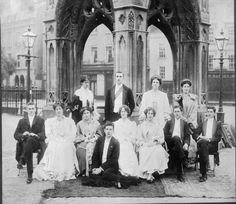The future war poet, Siegfried Sassoon with his brother Hamo and other students on the morning after a college May Ball at Cambridge University in 1906.