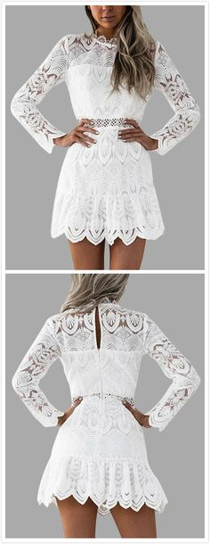 A lightweight lace details sexy dress featuring hollow design, crew neck, long sleeves and button keyhole back design. With high heels would be perfect to show your figure.