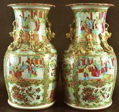 Par de vasos em porcelana Chinesa de Cantao do sec.19th, 36,5cm de altura, 16,320 EGP / 5,970 REAIS / 1,945 EUROS / 2,280 USD / 14,115 CHINESE YUAN https://www.facebook.com/SoulCariocaAntiques