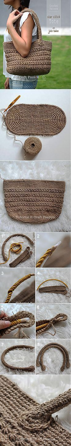 Ideas Bags Bolsa, croche, saco, passo a passo Crochet Diy, Crochet Tote, Crochet Handbags, Crochet Purses, Love Crochet, Crochet Crafts, Crochet Projects, Diy Crafts, Crochet Shell Stitch
