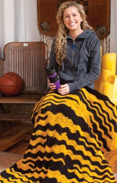 Go Team Throw Crochet Pattern...Oh no,,,My kids see this, I'll be crocheting alot of black and yellow...Go Steelers :-D