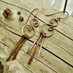 Hammered Copper Swirl earrings with hammered paddle dangles by BearRunOriginals on Etsy.
