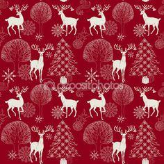 Рождество и новый год красный праздничный фон, xmas бесшовные и упаковочная бумага, ночной лес с оленей и елки, Зимние обои, художественные, фэнтези вектор праздник приглашения для дизайна