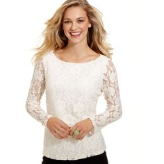 Fever Top, Long-Sleeve Lace Scoop-Neck ($35) found on Polyvore
