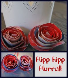 Vi har laget papproser av papptalerken. Papproser er kjempe fint som dekor og pynt til 17 mai. Alt man trenger er papptalerken, saks og maling.