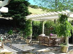 Flagstone patio with arbor, wisteria and waterfall