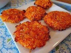 Baked Sweet Potato Hash-Brown Cakes 2 Sweet Potatoes, grated ¼ onion, finely chopped (optional) 1 egg ¼ tsp salt ¼ tsp rosemary, finely chopped Mix all ingredients together and form into patties. Place on a greased baking sheet and bake at 350 degrees for approx. 30min or until crisp