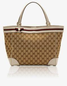 Gucci Mayfair Original GG Fabric Bow Detail Tote [Biege/Ebony w/ White Trim] (257061)