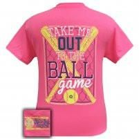 Girlie Girl Originals Preppy Softball Take Me Out To The Ballgame T-Shirt from Simply Cute Tees. Saved to Things I want as gifts. Softball Tshirts, Softball Socks, Basketball Shorts Girls, Basketball Games For Kids, Softball Quotes, Basketball Socks, Baseball Pants, Softball Mom, Basketball Jersey