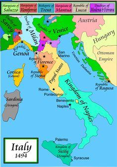 División política de la península italiana en el siglo XV