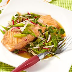 Mirin-Poached Salmon with Spring Salad. Sounds yummy! Low cal and clean