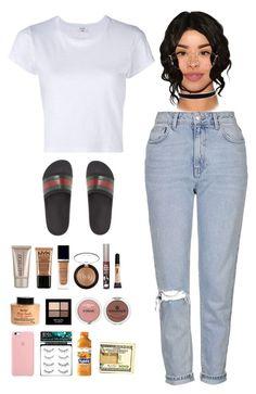 """shmood"" by noshaniya ❤ liked on Polyvore featuring Gucci, Topshop, RE/DONE, Ray-Ban, Laura Mercier, NYX, Christian Dior, TheBalm, Revlon and L'Oréal Paris"