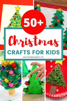 A full round-up of more than 50 Christmas Crafts for Kids to Make this Year! Lots of fun and creative ideas for kids this Christmas! Handprint Christmas Tree, Christmas Crafts For Kids To Make, Christmas Activities For Kids, Christmas Tree Crafts, Craft Activities For Kids, Simple Christmas, Preschool Crafts, Candy Cane Crafts, Craft Stick Crafts